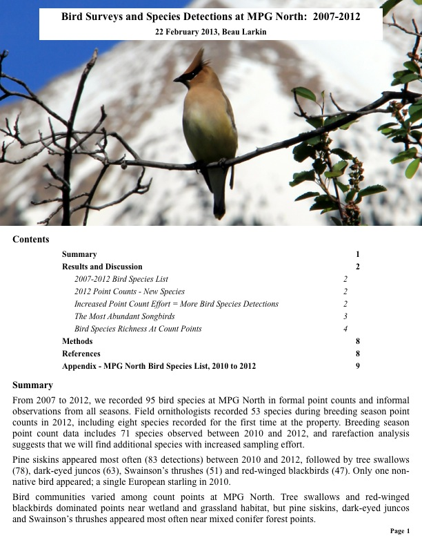 Bird Surveys and Species Detections at MPG North: 2007-2012
