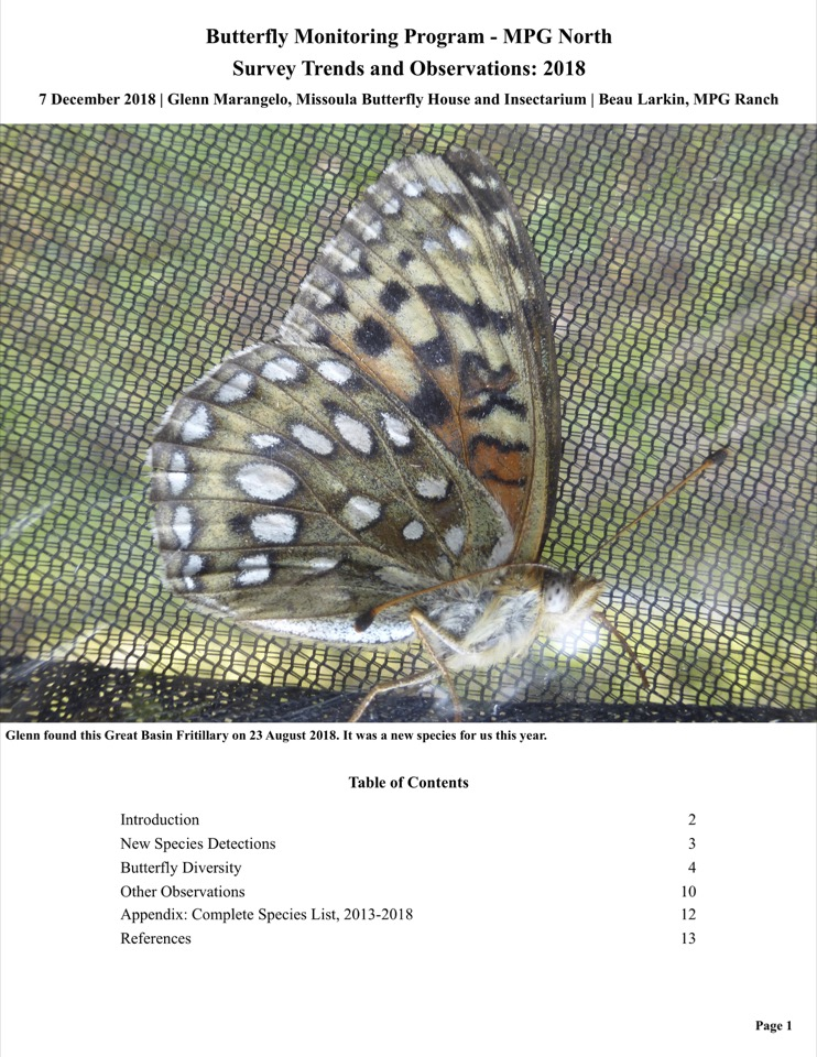 Butterfly Monitoring Program - MPG North Survey Trends and Observations: 2018