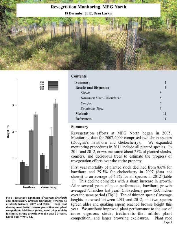 Revegetation efforts at MPG North began in 2005. Monitoring data for 2007-2009 comprised two shrub species (Douglas's hawthorn..
