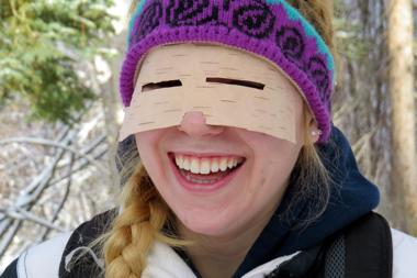 We constructed primitive sunglasses from birch tree bark.