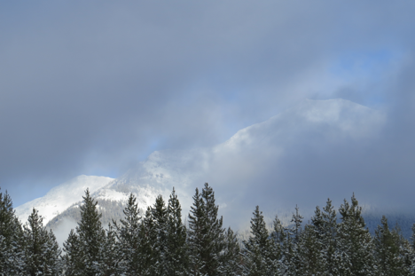 Low clouds shrouded the Swan Range most of the day.